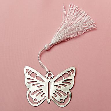 Nerez Praktické ODMĚNY záložky do knížky a otvírače dopisů Motýlí motiv Bílá / Stříbrná Stuhy / Cedulka