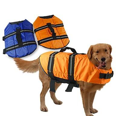 Hund Redningsvest Hundetøj Vanntett Ensfarvet Orange Blå