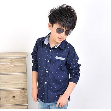 baratos Camisas para Meninos-Infantil Sólido Manga Longa Padrão Camisa Bege