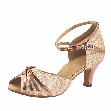 baratos Shall We® Sapatos de Dança-Mulheres Glitter / Couro Envernizado Sapatos de Dança Moderna Salto Salto Personalizado Personalizável Marrom