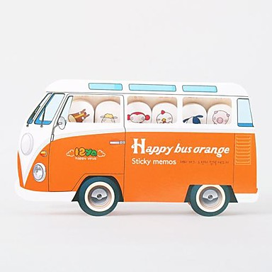 Happy Bus Self-Stick Note(Random Color)