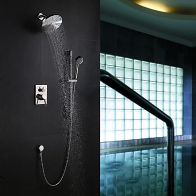 Contemporary Wall Mounted Rain Shower Handshower Included with  Ceramic Valve Five Holes Single Handle Five Holes for  Nickel Brushed ,