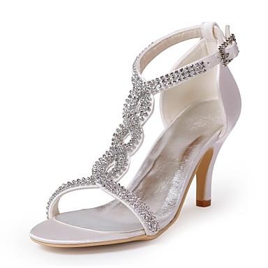 Women's Spring / Summer / Fall Heels / Open Toe Satin Wedding / Party & Evening Stiletto Heel RhinestoneBlack / Blue / Pink / Purple /