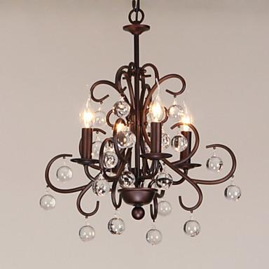 4-Light Candle-stil Lysestager Baggrundsbelysning - Stearinlys Stil, 220-240V Pære ikke Inkluderet / 10-15㎡ / E12 / E14