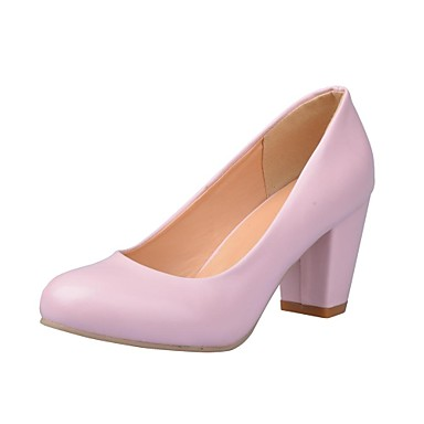 Women's Shoes Leatherette Spring Fall Chunky Heel For Office & Career Dress Black White Pink Beige