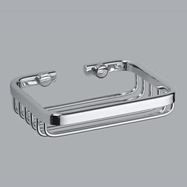 klassisk simpelt sølvfarvet krom messing rektangel stripe sæbe skål