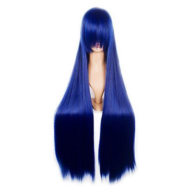 Synthetische Perücken Damen Glatt Mit Pony Synthetische Haare 32 Zoll Perücke Lang Kappenlos
