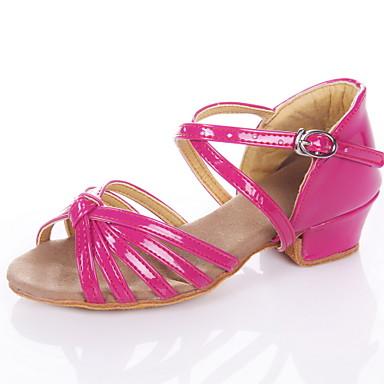 baratos Sapatos de Samba-Mulheres Sapatos de Dança Couro Ecológico Sapatos de Dança Latina / Dança de Salão Sandália Salto Baixo Não Personalizável Prateado / Dourado / Fúcsia / Crianças / Camurça / EU37