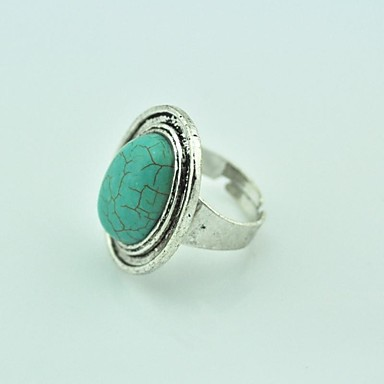Vintage Female Turquoise Adjustable Ring (Green)(1pcs)