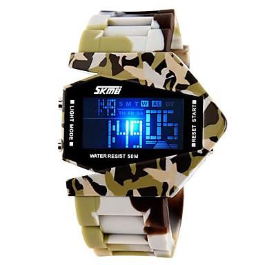 Herre Digital Watch Militærur Sportsur Quartz Digital Japansk Quartz Kalender Kronograf Vandafvisende LED LCD Silikone Bånd Sej Blåt Brun