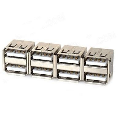 Dual USB hun adaptere - Sølv (4 stk)