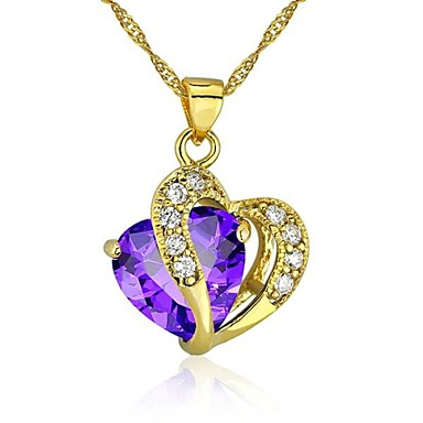 Women's Heart Love Heart Pendant Necklace Cubic Zirconia Gold Plated Pendant Necklace , Wedding Party Thank You Daily Valentine