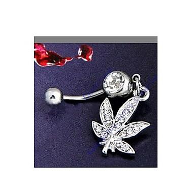 Dámské Tělové ozdoby Navel & Bell Button Rings Křišťál imitace Diamond Leaf Shape Šperky Denní Ležérní