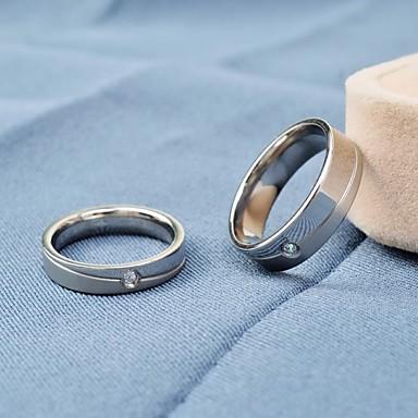 Couple's Couple Rings Luxury Simple Style Fashion Titanium Steel Imitation Diamond Round Jewelry Daily Casual