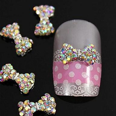 10шт Кристл AB стразами бисером галстук-бабочка 3d сплава украшения искусства ногтя