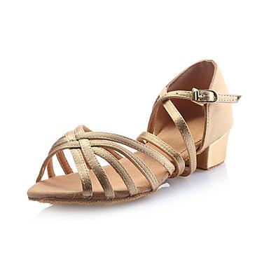 Children's Latin Satin Sandal Buckle Chunky Heel Gold Non Customizable
