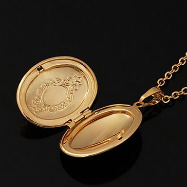 Bakır Altın Kaplama 18K Altın Uçlu Kolyeler Lockets Kolye - Bakır Altın Kaplama 18K Altın Circle Shape Geometric Shape Kolyeler