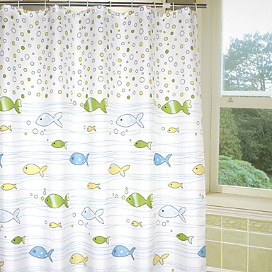 Lovely Cartoon Bubble Fish Shower Curtain