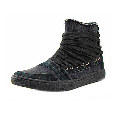 Men's Shoes Outdoor/Casual Canvas Fashion Sneakers Black/Green