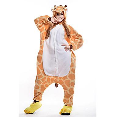 Adults' Kigurumi Pajamas Giraffe Animal Onesie Pajamas Polar Fleece Orange Cosplay For Men and Women Animal Sleepwear Cartoon Festival / Holiday Costumes
