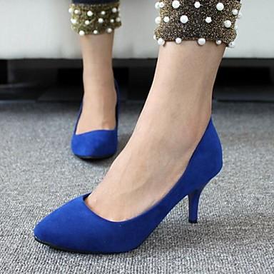 Жен. Обувь Бархат Весна Лето Осень На шпильке для Повседневные Офис и карьера Черный Красный Синий