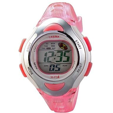 Copii Ceas Sport Ceas digital Piloane de Menținut Carnea LCD Calendar Cronograf Rezistent la Apă alarmă Cauciuc Bandă Pink Roz