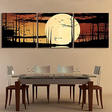 Stretched Canvas Art The Forest of The Moonlight Set of 3
