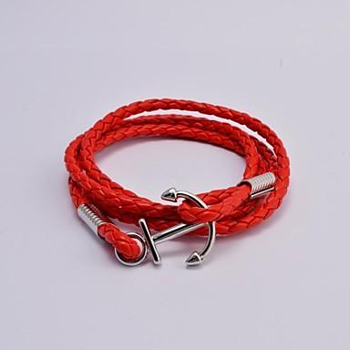 Муж. Wrap Браслеты Нержавеющая сталь Мода анкер Белый Черный Коричневый Красный Бижутерия