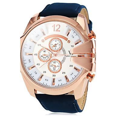 V6 Pánské Vojenské hodinky Náramkové hodinky Letecké hodinky Křemenný Velkoformátové Z umělé kůže Hnědá / Zelená / Námořnická modř Hodinky na běžné nošení Analogové Přívěšky - Černá Zelená Námořnick