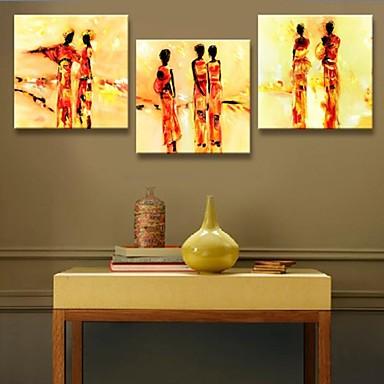 opgespannen doek kunst abstract mensen decoratie set van 3