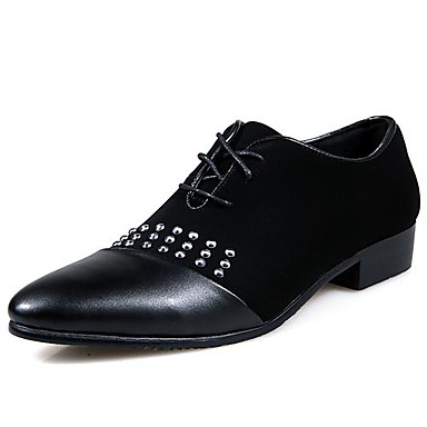Leather Men's Flat Heel Round Toe Oxfords with Lace-Up Shoes