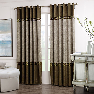 Rod Pocket Grommet Top Tab Top Double Pleated Two Panels Curtain ...
