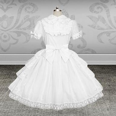 Klassische / Traditionelle Lolita Lolita Damen Kleid Cosplay Weiß Kurzarm Mittlerer Länge Übergrössen Kundenspezifische Kostüme