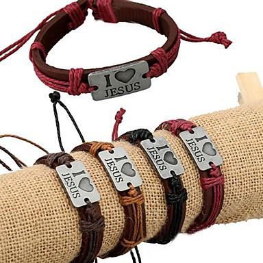 voordelige Herensieraden-Heren ID-armband Lederen armbanden Liefde Uniek ontwerp Modieus Leder Armband sieraden Donker rood / Lichtbruin / Donker Bruin Voor Dagelijks