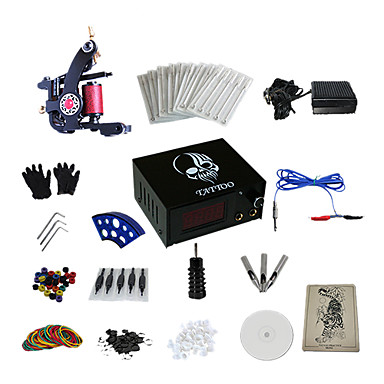 1 Gun Complete No Ink Tattoo Kit with Carbon Steel Casting Tattoo Machine