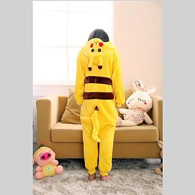 Kinder Kigurumi-Pyjamas mit Hausschuhen Pika Pika Pyjamas-Einteiler Korallenfleece Gelb Cosplay Für Jungen und Mädchen Tiernachtwäsche Karikatur Fest / Feiertage Kostüme