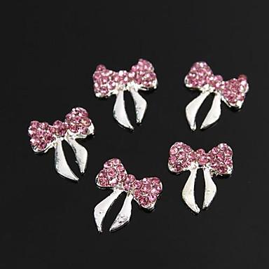 10 buc glitter cristal roz stras bowknot aliaj 3d decorare unghii