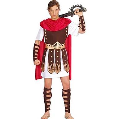Romanische Kostüme Gladiator Cosplay Kostüme Party Kostüme Maskerade Herrn Altes Griechenland Antikes Rom Halloween Karneval Silvester Fest / Feiertage Austattungen Rot + braun Patchwork
