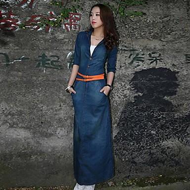 54e79fcfb635 συν μέγεθος φόρεμα, τζιν / άλλοι maxi ½ μήκος μανίκι γυναικών ...