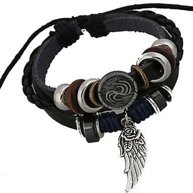 Herrn Leder Bettelarmbänder / Wickelarmbänder - Einzigartiges Design / Perlenbesetzt / Modisch Schwarz Armbänder Für Weihnachts Geschenke