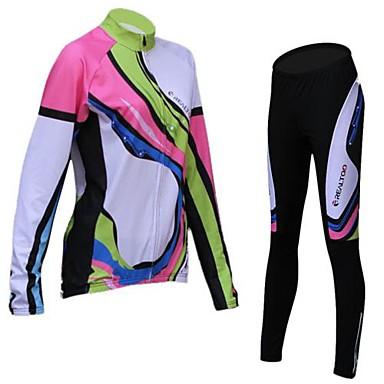 Realtoo Jerseu Cycling cu Mâneci Pentru femei Manșon Lung Bicicletă Jerseu Dresuri Ciclism Set de Îmbrăcăminte Iarnă Fleece Îmbrăcăminte