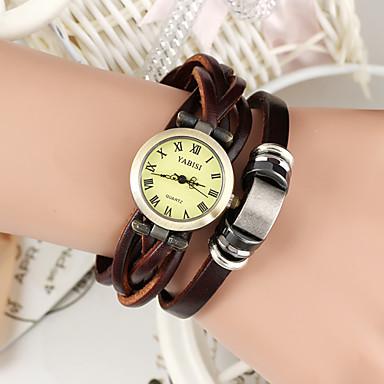 Damen Quartz Armband-Uhr Armbanduhren für den Alltag Leder Band Retro Böhmische Modisch Braun