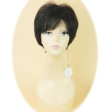 Кружевной парик Волнистый Прямой силуэт Стрижка под мальчика С чёлкой 100% ручная работа Парик в афро-американском стиле Боковая часть
