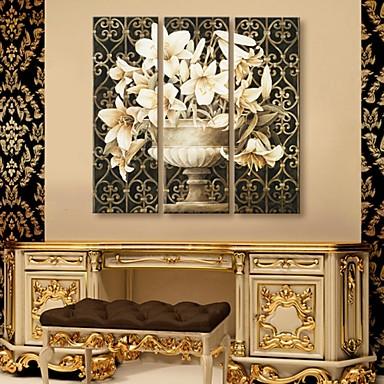 opgespannen doek kunst klassieke bloem set van 3