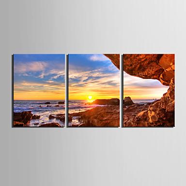 Întins Canvas Art Peisaj malul Sunset Set de 3