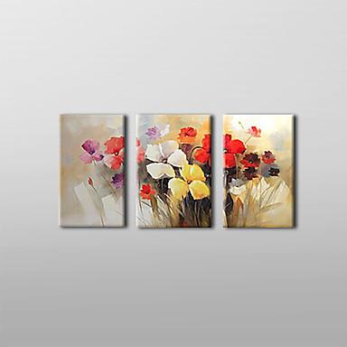 Hang-Boyalı Yağlıboya Resim El-Boyalı - Çiçek / Botanik Tuval Üç Panelli
