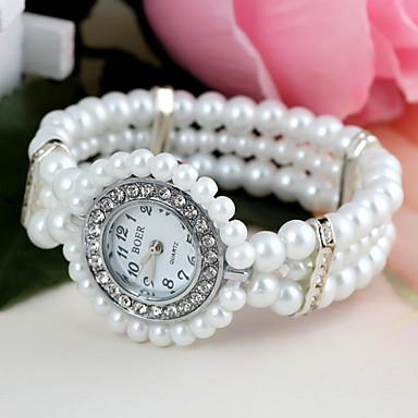 pentru Doamne Ceas La Modă Ceas Brățară Simulat Diamant Ceas Quartz imitație de diamant Plastic Bandă Flori Perle Alb
