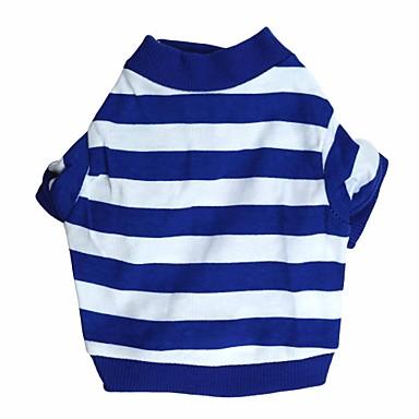 Katze Hund T-shirt Hundekleidung Streifen Blau Baumwolle Kostüm Für Haustiere