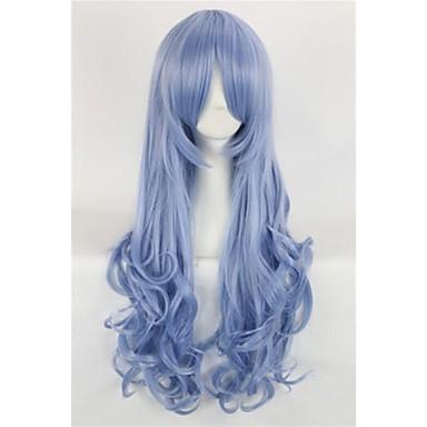 albastru închis club de cosplay partid peruca lung ondulat peruca din par sintetic pentru femei
