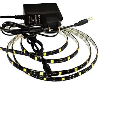 jiawen® vedenpitävä 1m 5W 60x5050smd valkoinen / lämmin valkoinen led joustava nauhat valo + 1a teho (AC 110-240V)